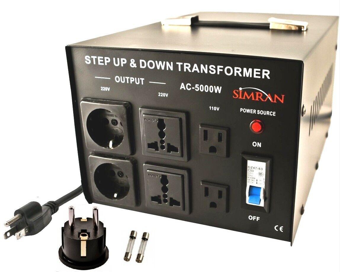 Simran International Step UP Down Simran 5000 Watt Voltage Converter Transformer 110 220 Volt 5000W