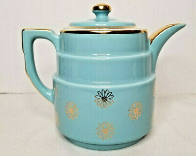 VTG Hall's Mid Century Modern Turquoise Gold Coffee Tea Pot Superior Quality