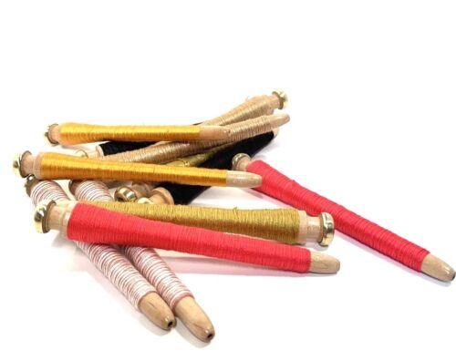 Threaded Bobbins~Spools~Spindles~Quills Vintage Primitive Wood Lot-12