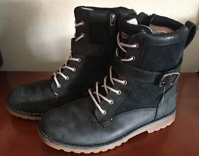 Ugg Girls Combat Black Leather Boots 3 US