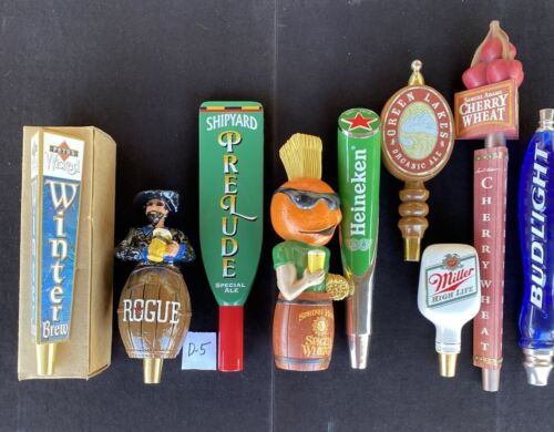 Lot Of 9 Draft Beer Tap Handles Rogue Shakespeare, Figurals, Nice Group!