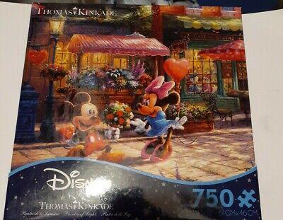 Thomas Kinkade ♡ Disney ♡ Mickey and Minnie Sweetheart Cafe ♡ 750 Piece READ