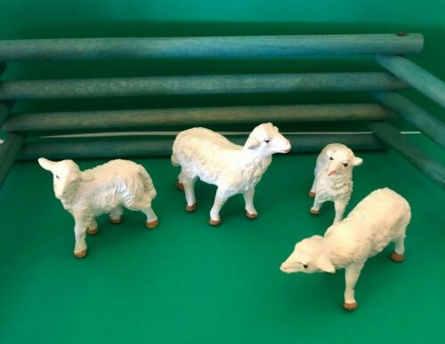 "Vintage Christmas Sheep Nativity Putz Marked ""Italy"" Composition - Flock of 4"