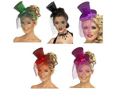 Mini Top Hat w/ Veil on Headband Costume Green Purple Hot Pink Red Black (Mini Red Top Hat)