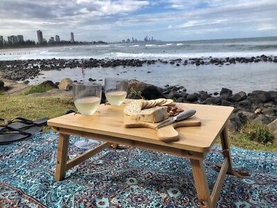The Picnic Mate | Premium Bamboo Folding Picnic Table | NEW | Best Seller ()