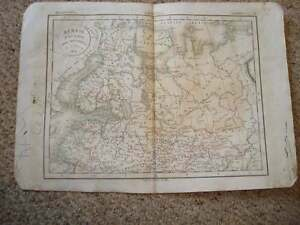1834-ANTIQUE-HNDCLR-MAP-NORTHERN-RUSSIA-ARCTIC-POLAR-NR