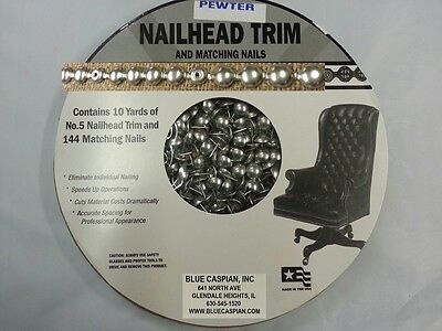 PEWTER  30 Feet Upholstery Tackstrips Roll Nail Strip Nailhead Trim +144 Nails