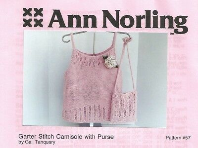 Garter Stitch Camisole with Purse Knitting Instruction Patterns Ann Norling #57 Camisole Knitting Patterns