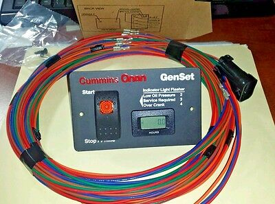 Onan 12 Volt Remote Start Switch Hour Meter With 25 Harness 8-pin Plug New