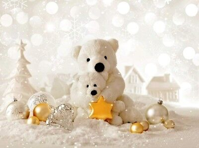 7x5ft Christmas Toy Bear ~  Snowfield ~  Backdrop Photo Prop Winter Wonderland - Winter Wonderland Props