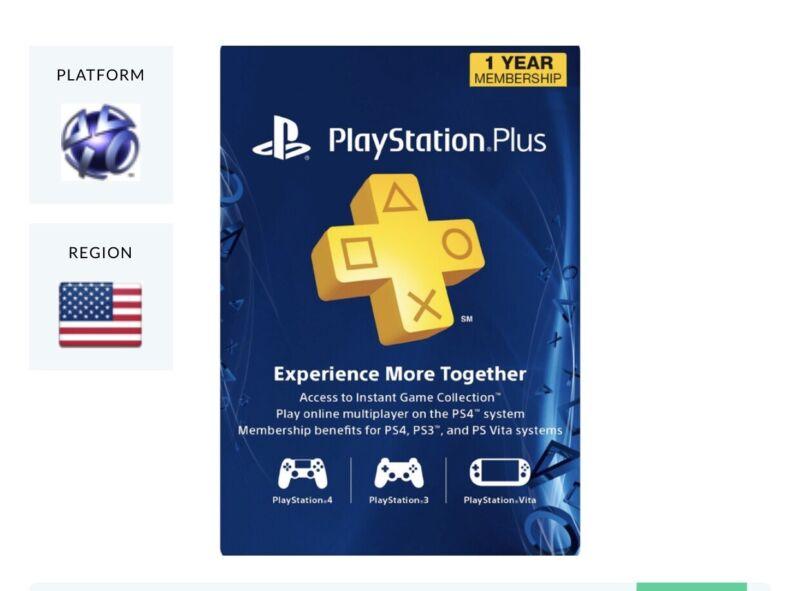 PlayStation Plus 1 Year 12 Month 365 Day PSN Membership Code PS4 PS3 PS Vita USA