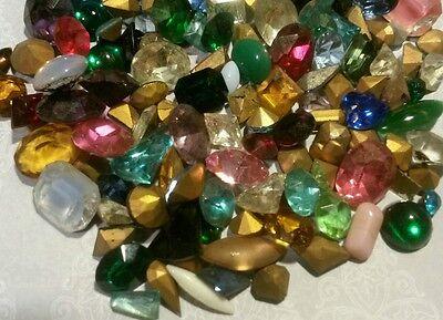 100 Vintage Rhinestones Assorted Mix of Med-Lrg Stones Jewelry Craft Repair