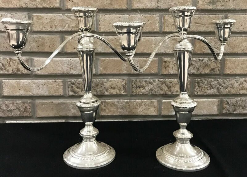 Vintage Gorham Silverplated Set Pair 2 Triple Bouillotte Candle Holders