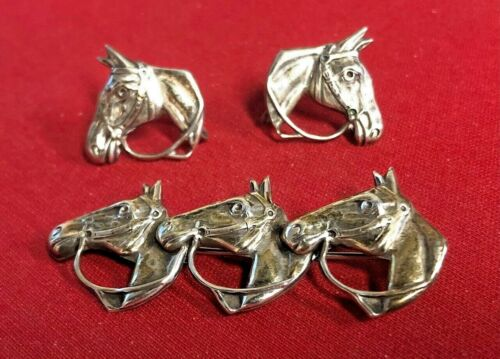 Vintage Lang Sterling Silver Brooch & Earrings, Western Style Horses
