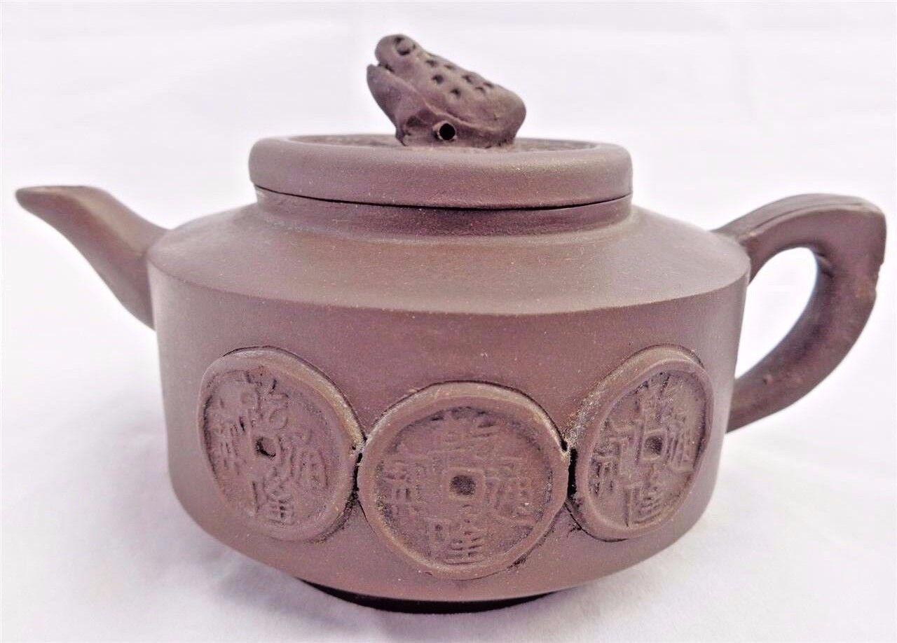Antique Chinese Zǐshā 紫砂 Purple Sands 乾隆通宝 Qianlong Tong Bao Yixing Teapot