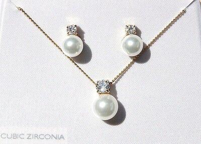 Neu Großhandel 100 Cubic Zirkonia Perle Anhänger Ohrring-Satz Halskette Cz