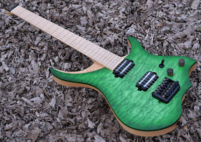 Green Quilted Maple Veneer Top Headless Electric Guitar ASH body flame Neck  ()