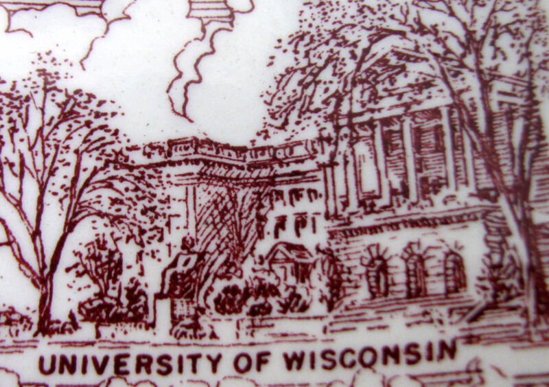 WISCONSIN Vintage Ultra Maroon Collectors Plate by Vernon Kilns Pottery ca 1940s