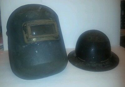 2 Vtg Skullgard Type B Full Brim Hard Hat Fiberglass Mine Miners Pittsburg Pa