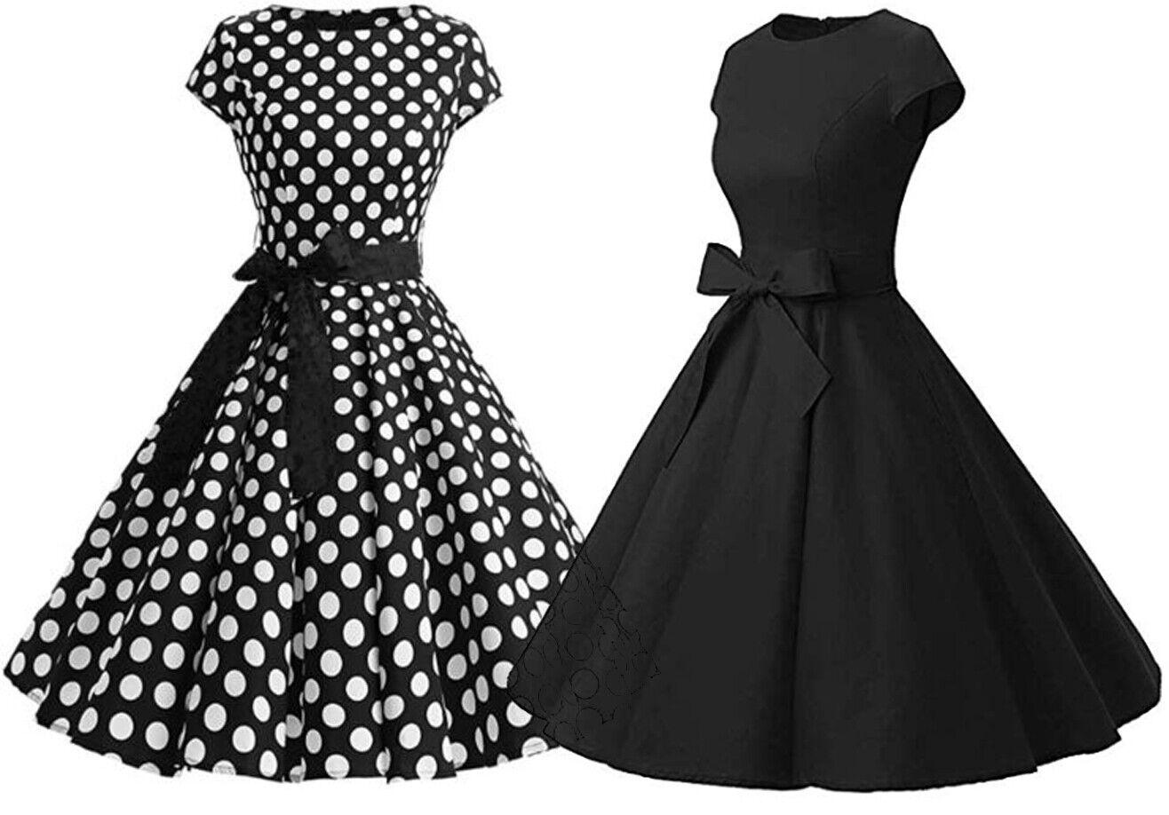 Damen Rockabilly Kleider Petticoat 50er Jahre Vintage Freizeit Party Skater (K2)