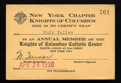RUDY VALLEE 1930 KNIGHTS OF COLUMBUS NEW YORK MEMBERSHIP CARD w/ SIGNED CHECK