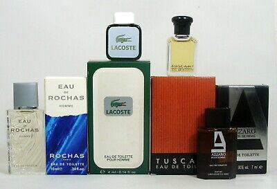 COLLECTION 4 MINIPERFUMES MEN'S GIFT SET : TUSCANY - AZZARO_- LACOSTE-  ROCHAS Lacoste Gift Set Perfume
