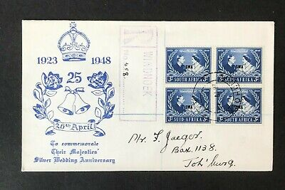 SC23 SOUTH WEST AFRICA 1948 Registered FDC Royal Silver Wedding multiple of 4