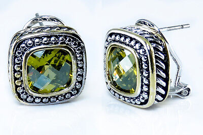 Olive Green Cubic Zirconia Earrings Rope Designer Style Silver Gold 18KGP
