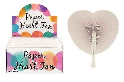 Wedding Favour Handheld Paper Heart Folding Fan Chinese Loot Party Bag Filler