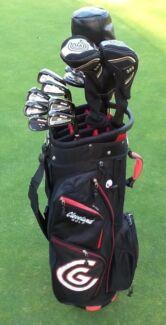 Golf clubs RH men's Cleveland + cart bag