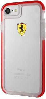 Ferrari iPhone 8 PLUS Hard Case: SHOCKPROOF Ferrari case (transparent, RED trim)