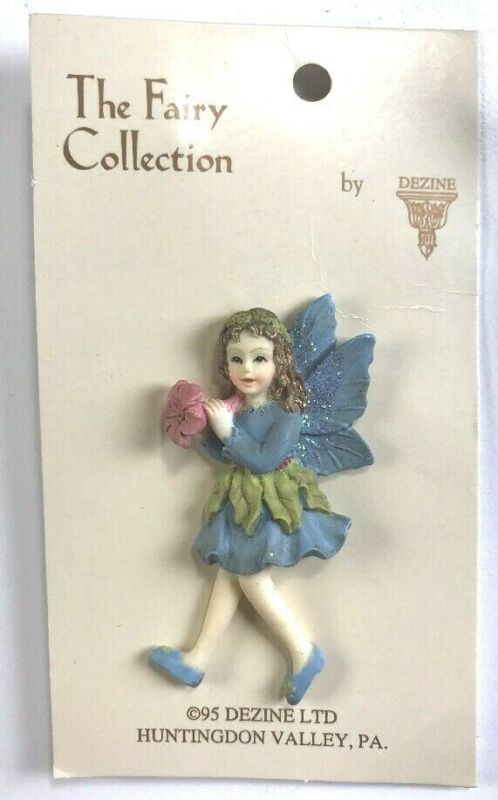 Dezine Fairy Collection Pin Brooch Blue Dress Pink Flowers Hand Painted NEW