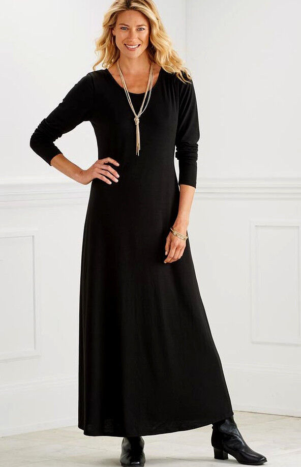 CLASSIC MAXI BLACK DRESS ~ SMALL UP TO 4X ~ PERFECT FOR DAYS