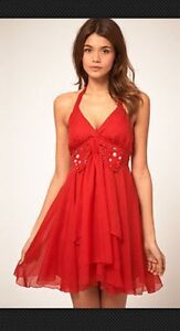 Red Lipsy Gem Bow Halter Babydoll Dress