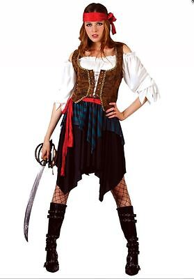 NEW Deluxe Caribbean Pirate Lady Swashbuckler Ladies Fancy Dress Costume