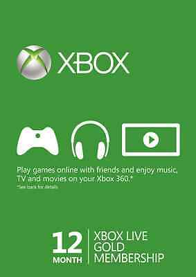 12 Month Microsoft Xbox Live Gold Membership Subscription for Xbox One/Xbox