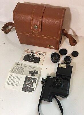 Asahi Pentax Auto 110 Subminiature Spy Camera 3 Lenses Winder & Case Vintage