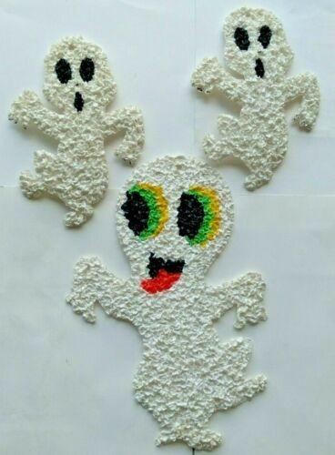 3 Vintage  Halloween Melted Popcorn Plastic Ghosts
