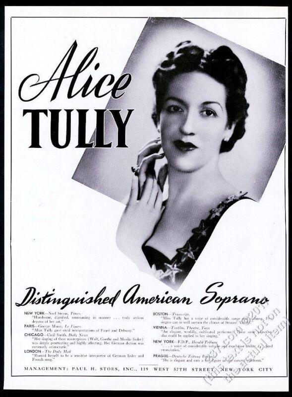 1940 Alice Tully photo opera singing recital tour booking trade print ad