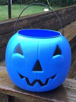 "Vintage General Foam Blue Jack-O-Lantern Trick or Treat Candy Pail / Bucket 8"""