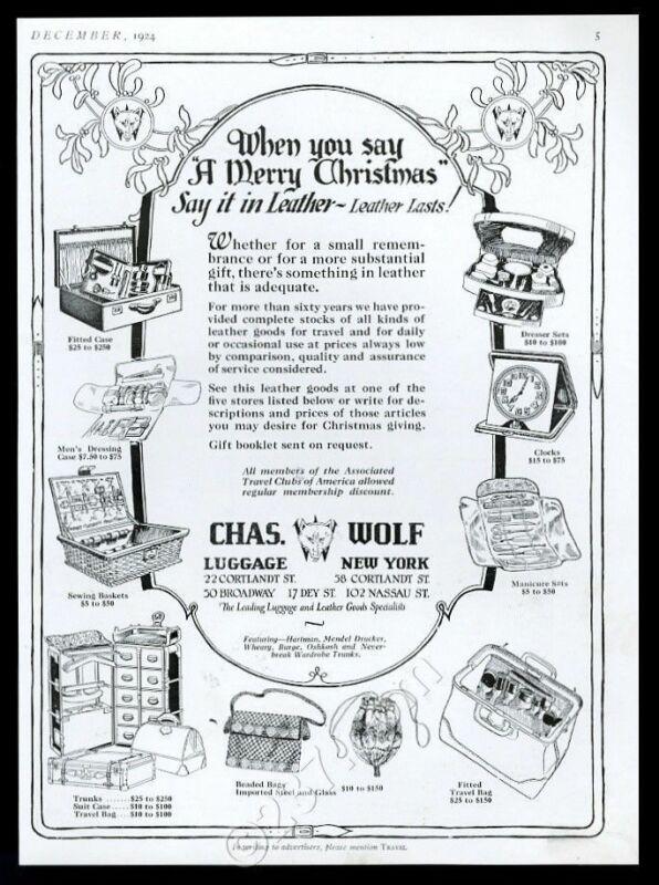 1924 Charles Chas Wolf luggage suitcase wardrobe trunk bag vintage print ad