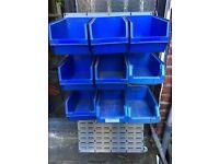 Wall Mounted Storage Bins Parts Rack Organiser Garage Plastic Shop Tool, shelves, shelving,shop sign