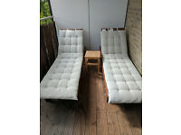 2 x Sun Loungers with matching cushions