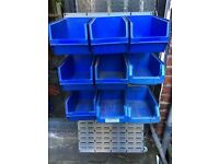 Wall Mounted Storage Bins Parts Rack Organizer Garage Plastic Shop Tool