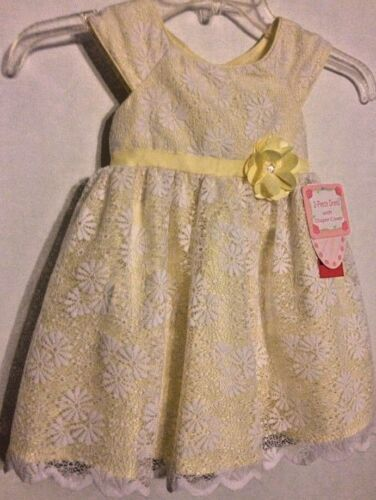 Jona Michelle Dress Size 24M/2T NWT Yellow/White Lace Overlay Special Occasion