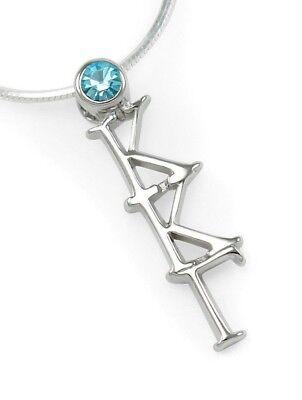 Kappa Kappa Gamma sterling silver lavalier pendant with Swarovski Blue crystal