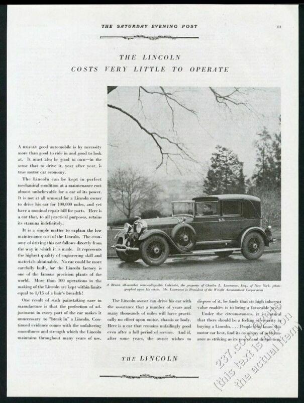 1929 Lincoln Brunn cabriolet town car photo vintage print ad
