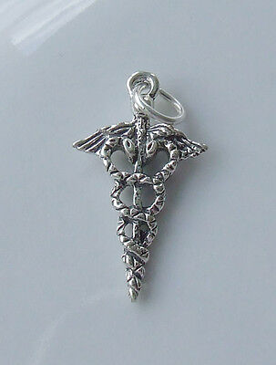 CADUCEUS MEDICAL SYMBOL PHARMACY NURSE PAGAN CHARM CHARMS 925 STERLING SILVER