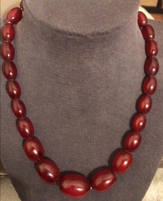 "Lovely Cherry Amber Bakelite Barrel Beads Necklace /  Vintage 17"""