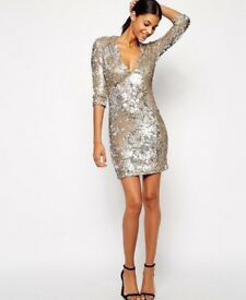 New with tags TFNC gold sequin body con dress